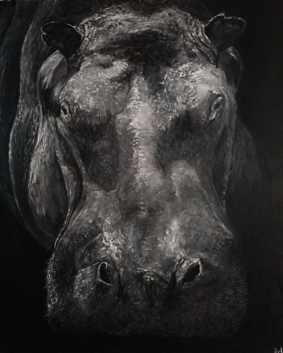 So big - Painting,  65x54 cm ©2019 by sylvie lescan -                                                                                Figurative Art, Contemporary painting, Realism, Animals, Black and White, Afrique, africa, hippo, hippopo, hippopotame, hippopotamus, herbivore, gros, animal sauvage, dangereux, savane, safari, wildlife, especes menacées