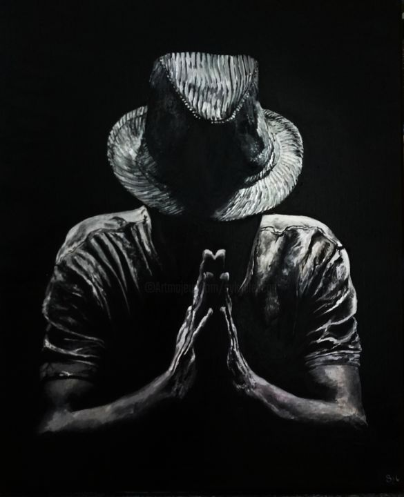 Merci - Painting,  24x19.7 in, ©2019 by sylvie lescan -                                                                                                                                                                                                                                                                                                                                                                                                                                                                                                                                              Figurative, figurative-594, Black and White, People, merci, remerciement, prière, thanks, chapeau, hat, mains
