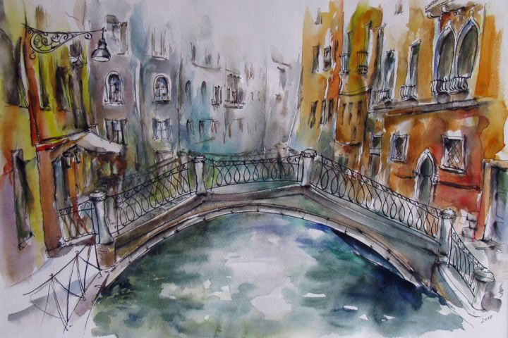 Venice Cannaregio / Venise Cannaregio - Painting,  18.9x24.4x0.1 in ©2017 by Zsolt Székelyhidi (HU) -                                                                                                                                Abstract Art, Abstract Expressionism, Contemporary painting, Expressionism, Architecture, Cities, Cityscape, History, Light, zsolt szekelyhidi, vamosiart, peter vamosi vamosiart, www.vamosiart.com, venice, venetian, canale, palace, palaces, historic, historical, historic building, italy, romantic, harmony, harmonious
