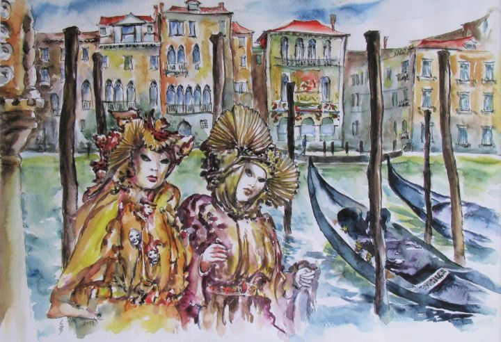 Carnival in Venice / Carnaval à Venise - Painting,  18.9x24.4x0.1 in ©2017 by Zsolt Székelyhidi (HU) -                                                                                                                                Expressionism, Figurative Art, Modernism, Portraiture, Architecture, Boat, Cities, Cityscape, Culture, zsolt szekelyhidi, vamosiart, peter vamosi vamosiart, www.vamosiart.com, carnival, venice, sea, italy, romantic, harmony, harmonie