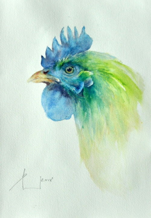 Alien Green Rosteroriginal Watercolor 23x32 Boyama Beata Van