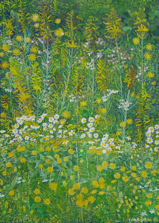 Arabesque V - Painting,  27.6x19.7x0.8 in, ©2018 by Tomislav Ivanišin -                                                                                                                                                                                                                                                                                                                                                                                                                                                                                                                                                                                                                                      Impressionism, impressionism-603, Flower, Garden, Nature, flowers, dandelions, daisies, meadow, mediterranean, white, green, yellow