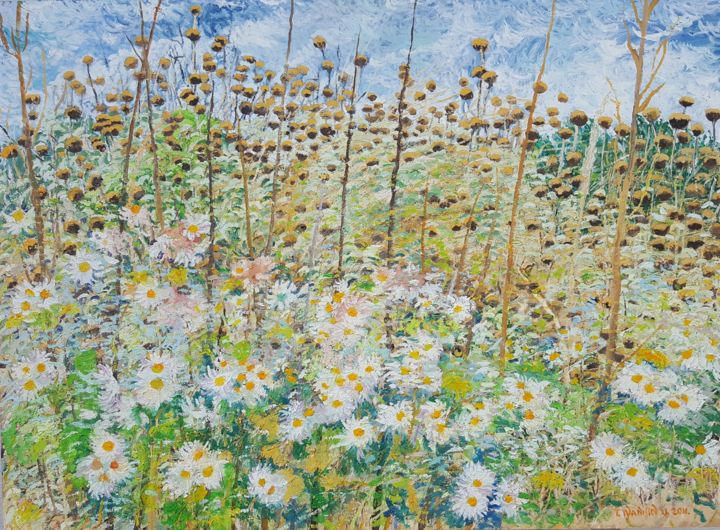 Wild Flowers and Libeccio - Painting,  19.7x27.6x0.8 in, ©2011 by Tomislav Ivanišin -                                                                                                                                                                                                                                                                                                              Impressionism, impressionism-603, Botanic, Flower, Landscape, Nature