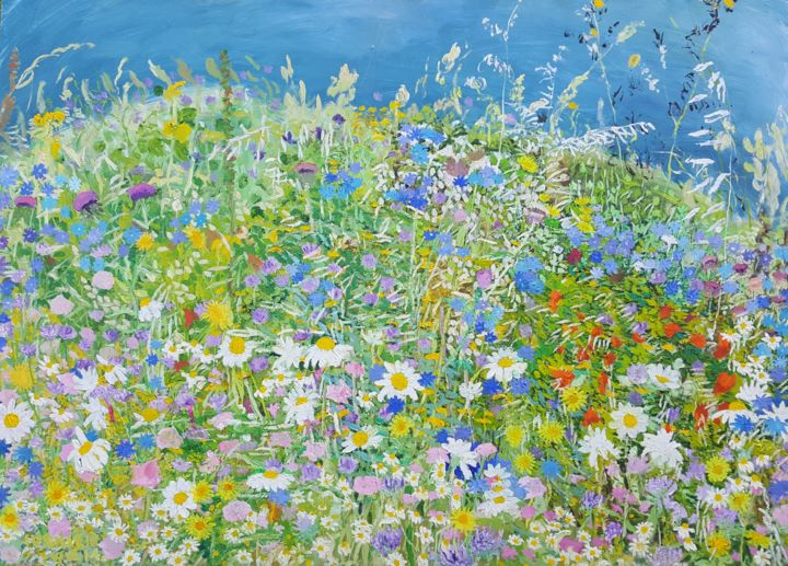 Wild Flowers on the way to Dubac - Painting,  19.7x27.6x0.8 in, ©2014 by Tomislav Ivanišin -                                                                                                                                                                                                                                                                                                                                                                                                                                                                                                                                              Impressionism, impressionism-603, Botanic, Flower, Landscape, Nature, flowers, meadow, nature, mediterranean, summer