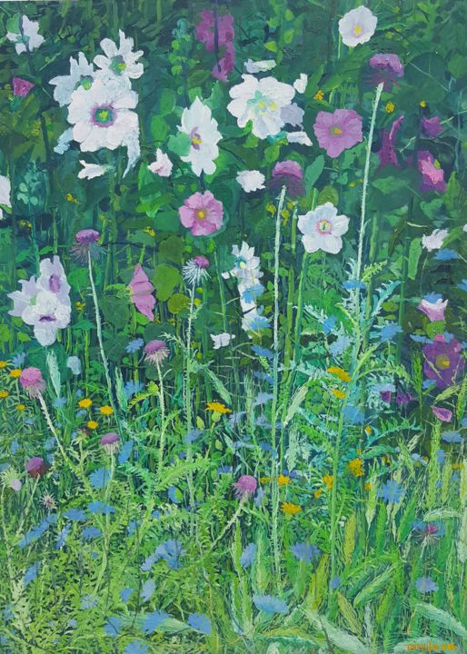 Mallow and Cornflowers II - Painting,  27.6x19.7x0.8 in, ©2016 by Tomislav Ivanišin -                                                                                                                                                                                                                                                                                                                                                                                                                                                                                                                                                                                                                                                                                                                                                                                                                      Impressionism, impressionism-603, Botanic, Flower, Garden, Nature, mallow, cornflower, thistle, green, field, meadow, blooming, summer, white, violet, blue