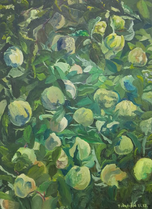 Quinces - Painting,  27.6x19.7x0.8 in, ©2017 by Tomislav Ivanišin -                                                                                                                                                                                                                                                                                                                                                                                                                                                                                                  Impressionism, impressionism-603, Botanic, Garden, Nature, Tree, quince, green, orchard, fruit