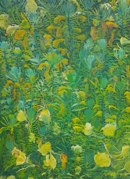 Arabesque IV - Painting,  27.6x19.7x0.8 in, ©2018 by Tomislav Ivanišin -                                                                                                                                                                                                                                                                                                                                                                                                                                                                                                                                                                                                                                                                                  Impressionism, impressionism-603, Botanic, Flower, Garden, Nature, flower, weed, green, yellow, grass, leafy spurge, nature, wild flowers