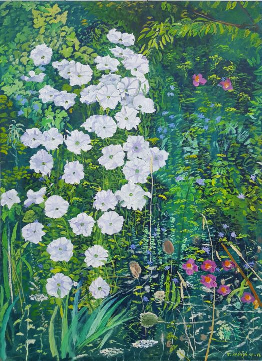Carpet of Flowers - Painting,  27.6x19.7x0.8 in, ©2017 by Tomislav Ivanišin -                                                                                                                                                                                                                                                                                                                                                                                                                                                                                                                                                                                                                                                                                                                                                                                                                                                                  Impressionism, impressionism-603, Botanic, Flower, Garden, Nature, flower, garden, petunia, georgina, green, white, merry, hapiness, romantic, violet, summer, joy