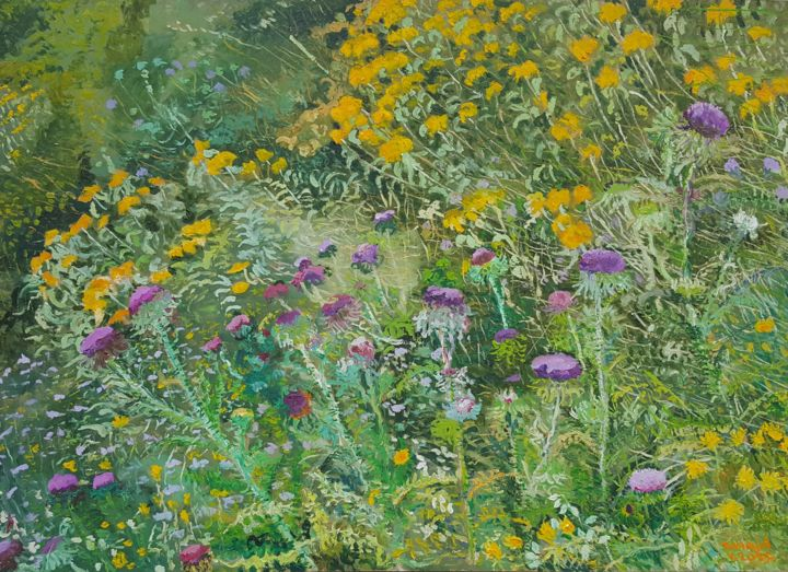 On the way to Dubac II - Painting,  19.7x27.6x0.8 in, ©2015 by Tomislav Ivanišin -                                                                                                                                                                                                                                                                                                                                                                                                                                                                                                                                                                                                                                                                                                                                                                          Impressionism, impressionism-603, Botanic, Flower, Landscape, Nature, wild flowers, nature, meadow, thistle, jerusalem sage, green, yelllw, violet, mediterranean, summer