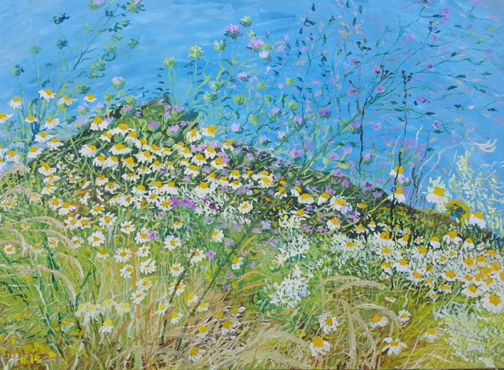 Wild Flowers along the Way to Orsula II - Painting,  19.7x27.6x0.8 in, ©2014 by Tomislav Ivanišin -                                                                                                                                                                                                                                                                                                                                                                                                                                                                                                                                                                                                                                                                                                                              Impressionism, impressionism-603, Flower, Landscape, Nature, wild flowers, blue, white, green, colourful, vivid, merry, romantic, summer, mediterranean