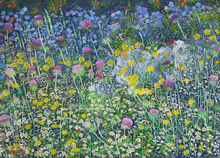 Carpet with Wild Flowers - © 2017 wild flowers, dandelions, thistle, cornflower, summer, colourful, blue, yellow, violet, merry, romantic, happiness Online Artworks