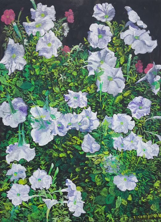 Petunia - Painting,  27.6x19.7x0.8 in, ©2018 by Tomislav Ivanišin -                                                                                                                                                                                                                                                                                                                                                                                                                                                                                                  Impressionism, impressionism-603, Flower, flowers, garden, white, merry, romantic, summer, petunia