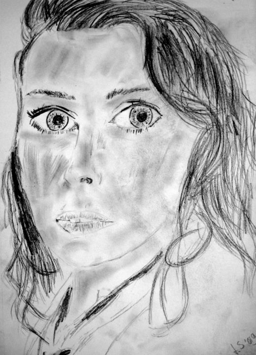 sharon - Drawing, ©2018 by Tom Schrijver -                                                              People