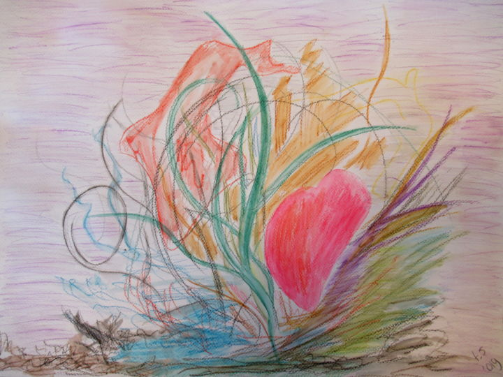 """Painting titled """"soft heart"""" by Tom Schrijver, Original Art, Watercolor"""