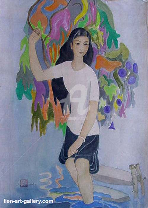 """Painting titled """"Silk painting Ta Ph…"""" by Ta Phuong Thao, Original Art, Watercolor"""