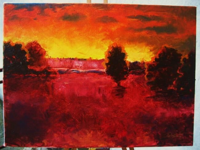 Painting,  30 x 40 cm ©2009 by Ovidiu Alexandru Tabara -  Painting, evening