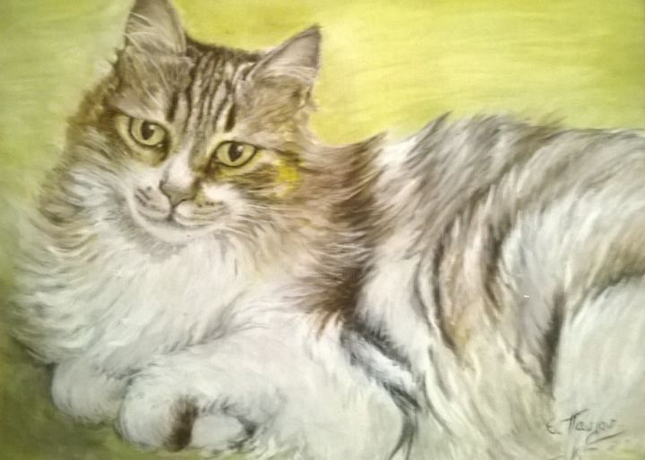 wp-20180201-18-24-25-pro-2.jpg - Painting ©2019 by Irini -                            Cats, Painting, Watercolor on canvas, Cat painting, Original painting, Watercolor Art