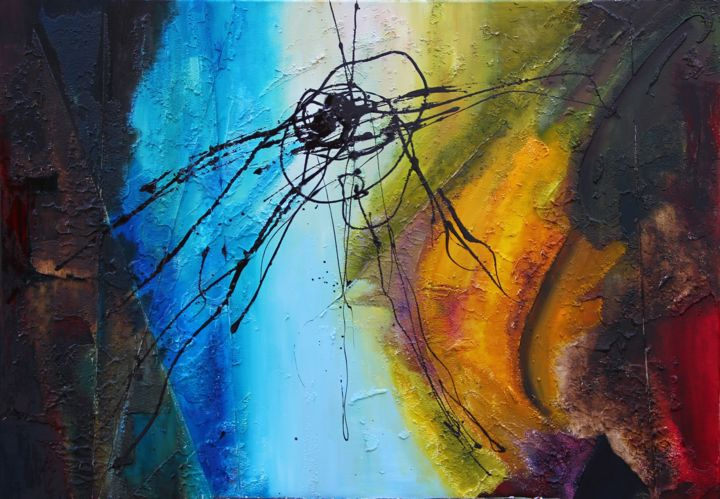 """Painting titled """"Laughter Sky"""" by Machowski, Original Art, Oil Mounted on Stretcher frame"""
