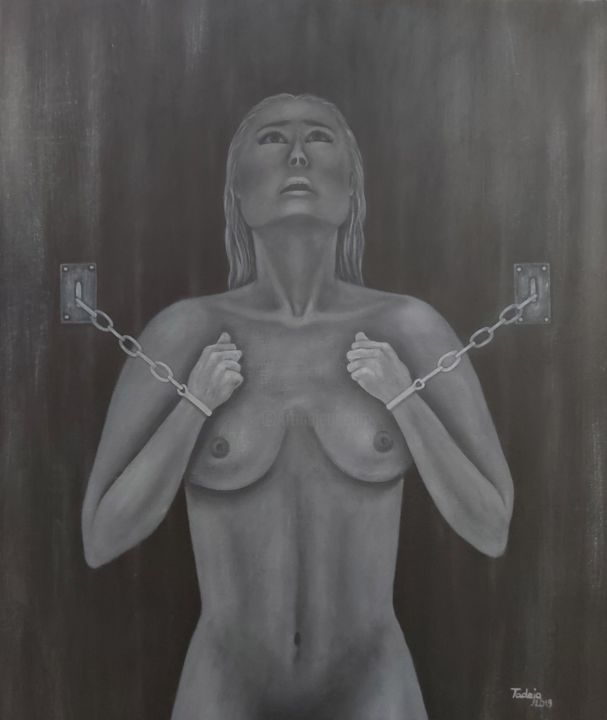 """Painting titled """"SUFFERING"""" by Tady Divjak, Original Art, Acrylic"""