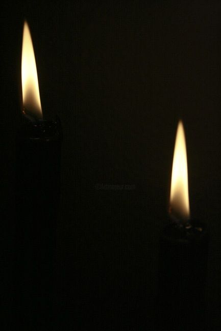 the candles - Photography,  11.8x7.9 in, ©2010 by Poppy Flower -                                                              two burning  black candles on dark background