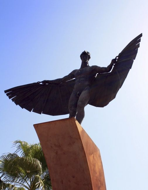 Icarus - Photography,  11.8x8.3 in, ©2009 by Poppy Flower -                                                              PHOTOGRAPHOF A STATUE OF ICARUS  IN AGUILAS SPAIN