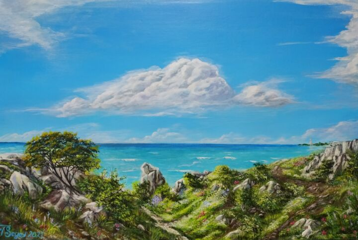 """Painting titled """"Seascape"""" by Tali Segev, Original Art, Acrylic Mounted on Stretcher frame"""