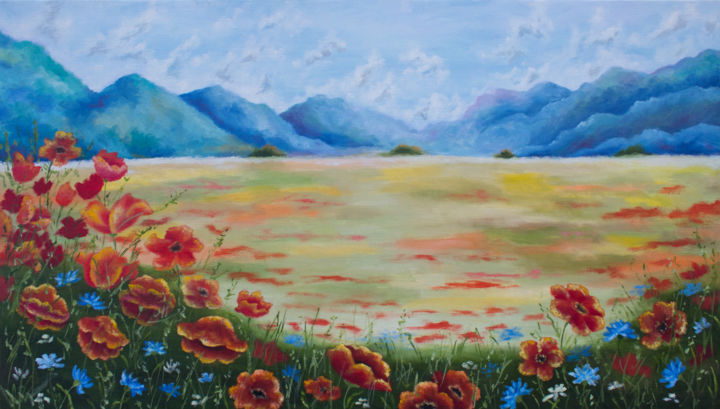 Summer landscape - Painting,  40x70x2 cm ©2017 by Инна Есина -                                            Expressionism, Landscape, summer landscape oil, Poppies Painting, Landscape Painting, Flowers Painting, red poppy flowers oil, poppy field oil, poppy art oil, Field of flowers oil, landscape art, mountain paintings oil, mountain landscape oil, oil art field, Canvas art Landscape, Wall art Landscape, oil painting summer Landscape