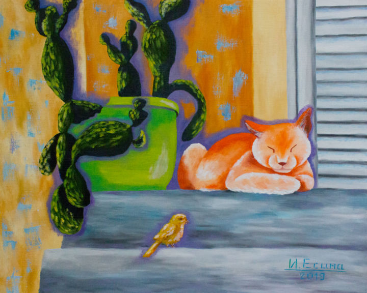 Sleeping cat - Painting,  45x55x2 cm ©2019 by Инна Есина -                                                                    Illustration, Naive Art, Contemporary painting, Animals, animals oil, cat Original Oil Painting, Gift for Cat Lovers, cactus cat oil, cat bird oil painting, resting cat oil, red cat sleeping, sleeping cat, cat wall art, original cat art, animal wall art, kitty cat art