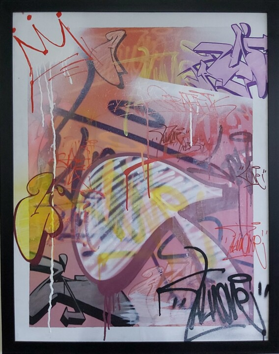 """Painting titled """"..............."""" by Talu, Original Art, Spray paint Mounted on Wood Panel"""