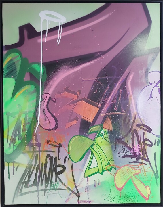 """Painting titled """"................"""" by Talu, Original Art, Spray paint Mounted on Other rigid panel"""