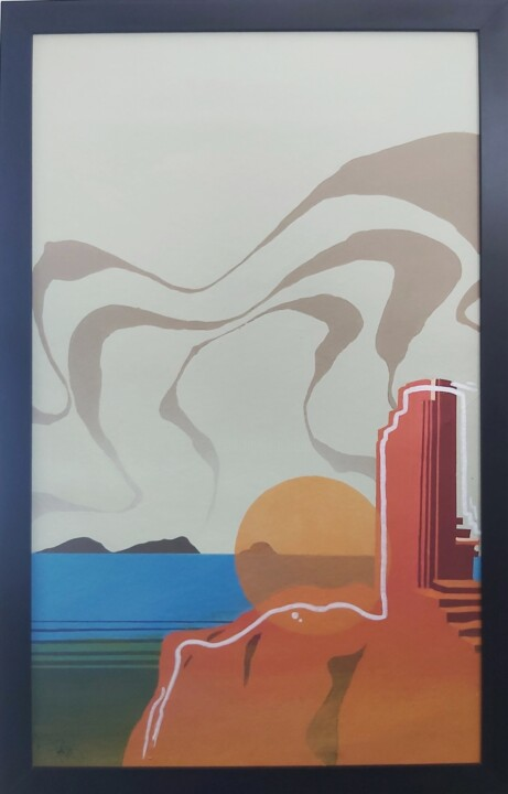 """Painting titled """"old lighthouse"""" by Talu, Original Art, Acrylic Mounted on Other rigid panel"""
