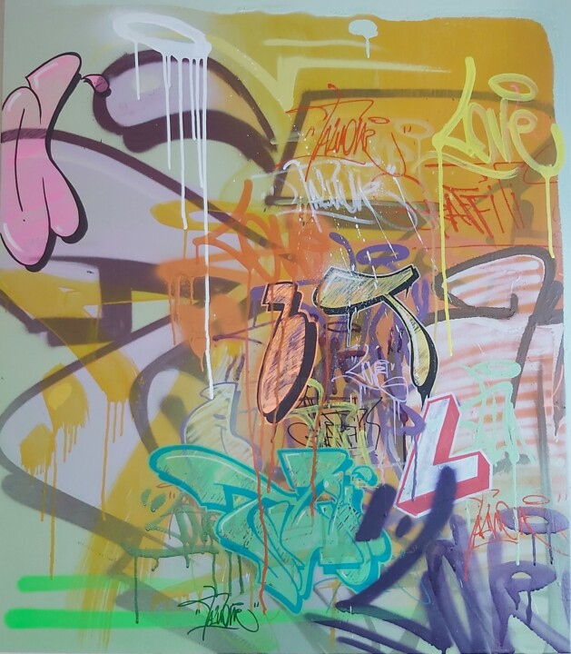 """Painting titled """"Aquelas coisas..."""" by Talu, Original Art, Spray paint Mounted on Wood Panel"""