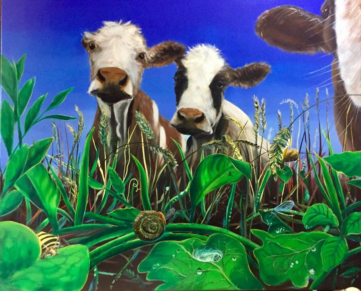 Koeien - Painting,  39.4x47.2x1.6 in, ©2017 by Tamas -                                                                                                                                                                                                                                                                                                              Figurative, figurative-594, Animals, Cows, Landscape, Nature