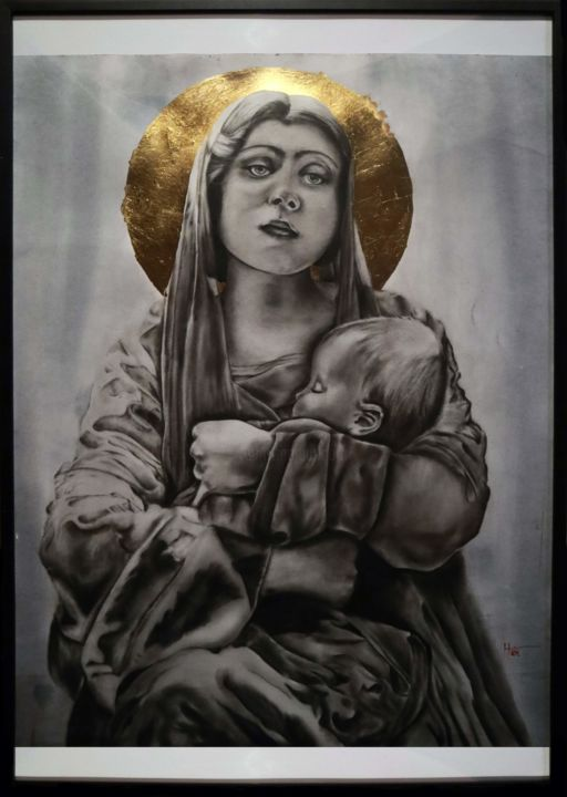 """Painting titled """"Mary with baby Jesus"""" by Tamás Haik, Original Art, Pastel"""