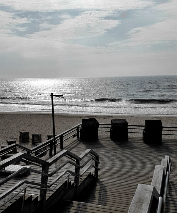 sea terrace - Photography, ©2019 by Tanja Niegsch -                                                                                                                                                                                                                                                                                                                                                                                                                                                                                                                                                                                                                                                                                                                                                                                                                                                                  Figurative, figurative-594, Seascape, Nature, Places, Water, sylt, deutschland, insel, meer, strandkorb, terrasse, sand, ausblick, meerblick, entspannung, weite, holz
