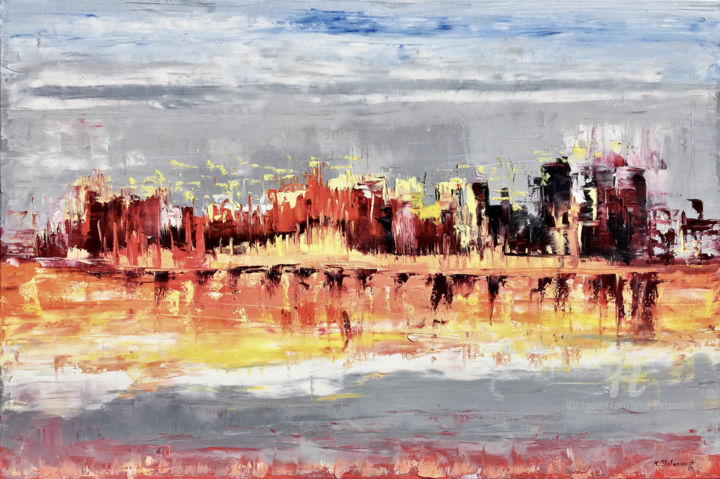 """Painting titled """"City, Oil 120x80cm"""" by Tanya Stefanovich, Original Art, Oil"""