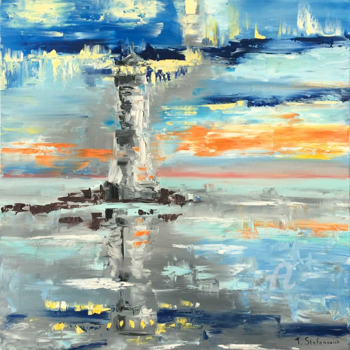 """Painting titled """"Lighthouse, Oil 90x…"""" by Tanya Stefanovich, Original Art, Oil"""