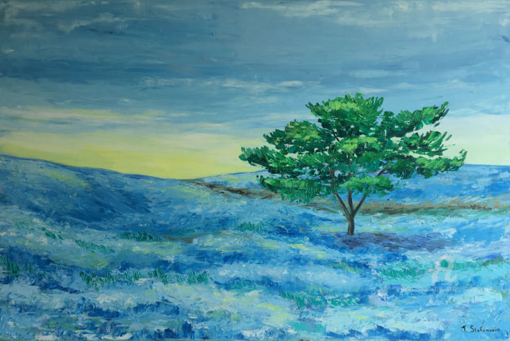 """Painting titled """"Linen field, Oil 12…"""" by Tanya Stefanovich, Original Art, Oil"""