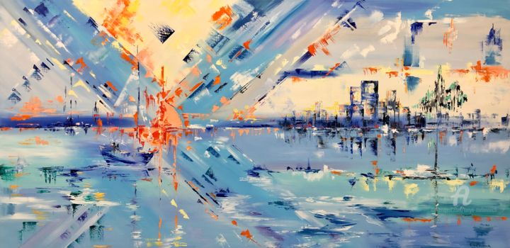 """Painting titled """"Sunset abstract"""" by Tanya Stefanovich, Original Art, Oil"""