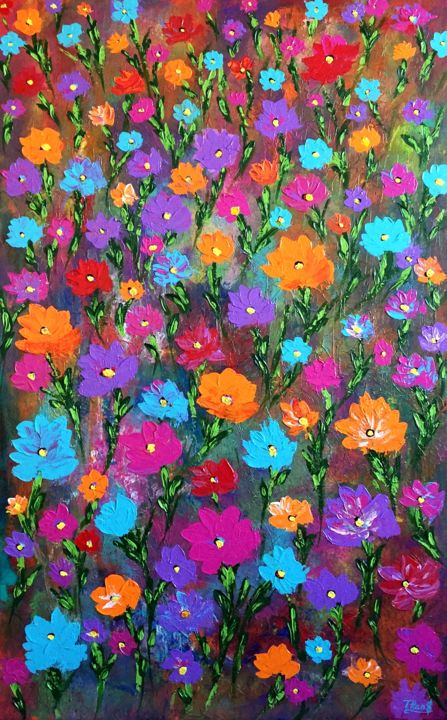"""Large abstract painting acrylic """"Colorful Blossom"""" - Painting,  48x30x1.5 in ©2019 by TanyaSunart -                                                                                Abstract Expressionism, Expressionism, Minimalism, Modernism, Flower, flowers, abstract flowers, large painting, wall decor"""
