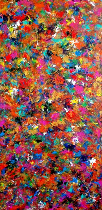 """Colorful abstract painting acrylic """"CARNIVAL"""" - Painting,  48x24x1 in ©2019 by TanyaSunart -                                                                                Abstract Expressionism, Contemporary painting, Expressionism, Modernism, Abstract Art, abstract art, colorful art, wall decor, large original painting"""