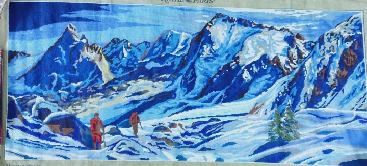"""Painting titled """"Mountainscape hand…"""" by Tariq Aziz, Original Art, Embroidery"""