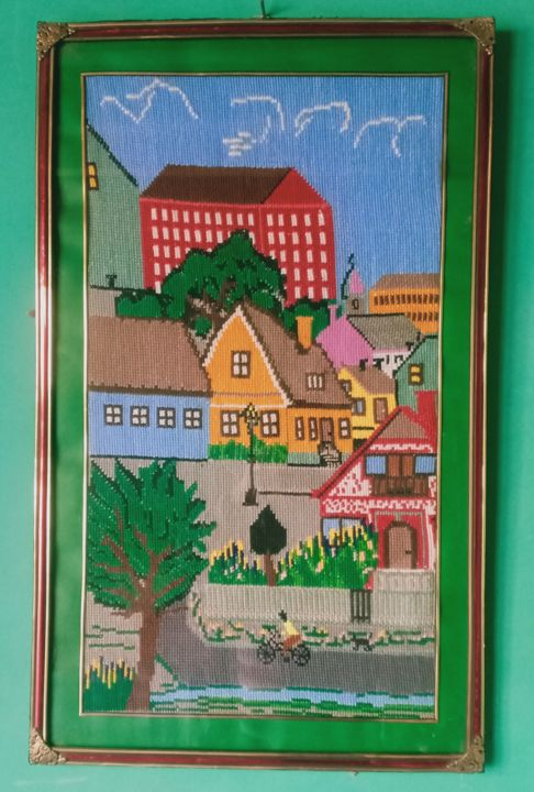 """Painting titled """"Modern and Old City…"""" by Tariq Aziz, Original Art, Embroidery"""