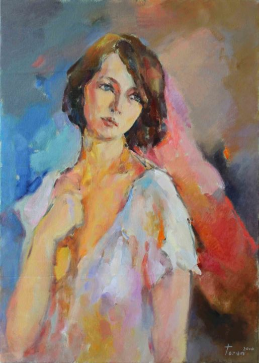 img-2582.jpg - Painting,  70x50x3 cm ©2016 by Taron Xachatryan -                                                            Contemporary painting, Canvas, Women, Girl