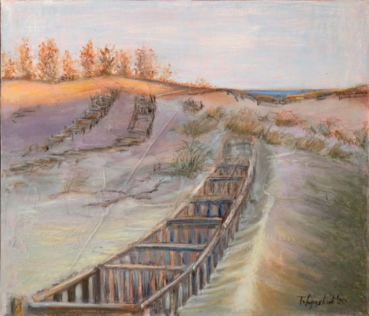 """Painting titled """"""""In the dunes on se…"""" by Tatiana Lyashuk, Original Art, Oil Mounted on Wood Panel"""