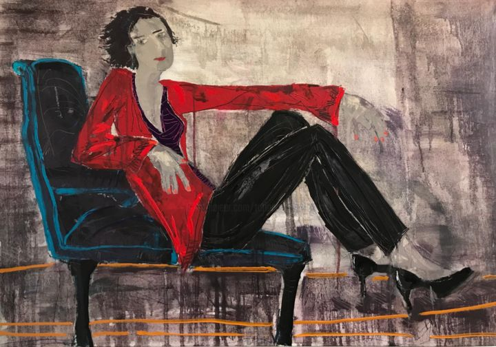 Friday night - Painting,  31.9x45.7x0.8 in, ©2020 by Tatiana Harizanova - Gallery Maestro -                                                                                                                                                                                                                                                                                                                                                                                                                                                                                                  Illustration, illustration-600, Body, Love / Romance, Women, oil on canvas, red, women, modern art, abstract