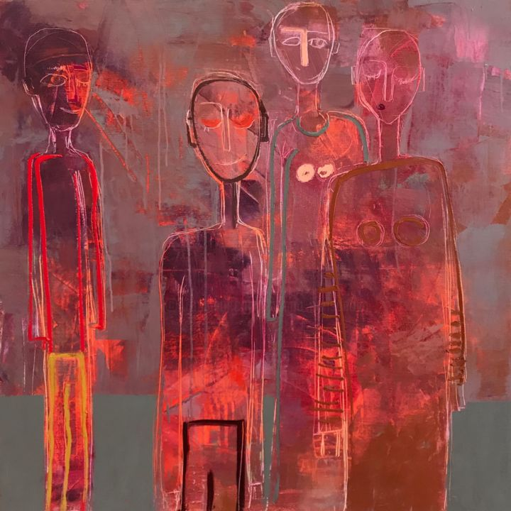 Guests - Painting,  35.4x35.4x0.8 in, ©2020 by Tatiana Harizanova - Gallery Maestro -                                                                                                                                                                                                                                                                                                                                                                                                                                                                                                                                              Abstract, abstract-570, Abstract Art, Body, Colors, People, oil ona canvas, red, abstract art, peaple, body