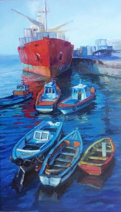 Red guest - Painting,  27.6x15.8x0.8 in, ©2020 by Tatiana Tarasova -                                                                                                                                                                                                                                                                                                                                                                                                                                                                                                                                                                                                                                                                                                                                                                                                                                                                                                              Classicism, classicism-933, Water, Boat, Seascape, Cityscape, mar, puerto, barco, lancha, bote, valparaiso, chile, realism, oilpainting, sea, port, boat, ship
