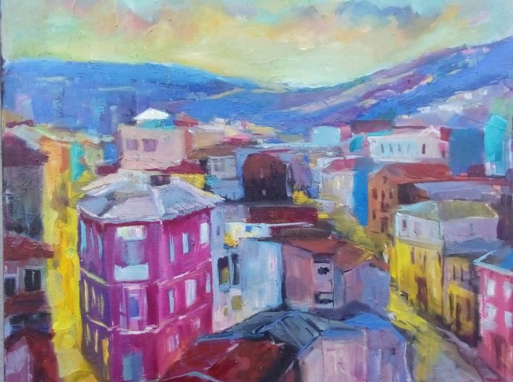 Lost in time - Painting,  15.8x19.7x0.8 in, ©2020 by Tatiana Tarasova -                                                                                                                                                                                                                                                                                                                                                                                                                                                                                                                                                                                                                                      Expressionism, expressionism-591, Cities, Cityscape, city, valparaiso, chile, puerto, bohemio, sunrise, sunset, ciudad, paisaje