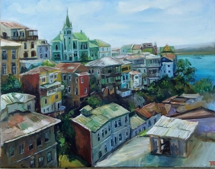 Valparaiso and the ocean - Painting,  15.8x19.7x0.8 in, ©2020 by Tatiana Tarasova -                                                                                                                                                                                                                                                                                                                                                                                                                                                                                                                                              Classicism, classicism-933, Cityscape, cityscape, ocean, city, valparaiso, chile southamerica, chile, houses, architecture